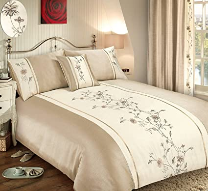 Luxury Embellished Embroidered Bedding Duvet Quilt Cover Set /& Pillowcases