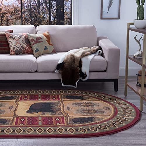 Tayse Sierra Bear Red 5×8 Oval Area Rug Cabin