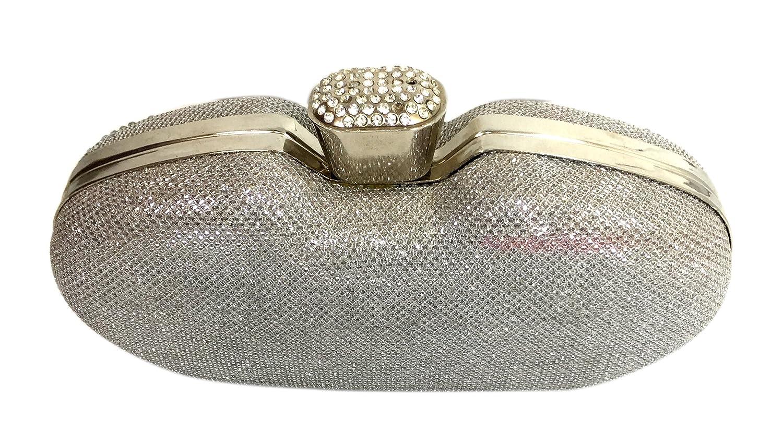 55cc32217e Crystal Clutch Purse Hard Case Rhinestones Evening Clutch Bag Party Wedding  Purses for Women Girls (DarkSilver)  Handbags  Amazon.com