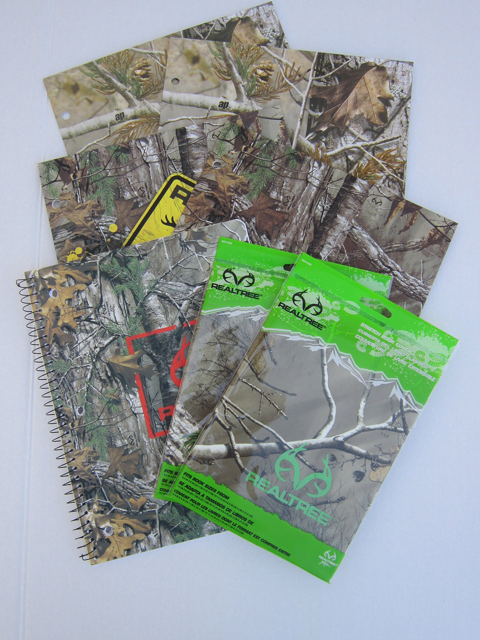 Realtree Outdoors Themed School Supply Bundle: 7 Items- Four Realtree Two Pocket Portfolios, Two Realtree Stretch Book Covers, Plus One Realtree Sprial 70 Page College Ruled Notebook
