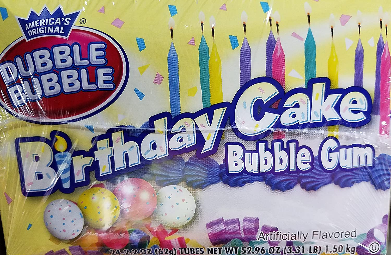 Awesome Amazon Com Dubble Bubble Birthday Cake Bubble Gum 24 Count Personalised Birthday Cards Paralily Jamesorg