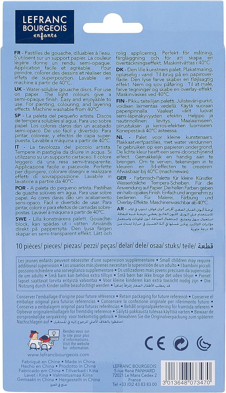 10 Farben Set und Pinsel im Kindermalkasten Lefranc /& Bourgeois 807347 Wasserfarben Set