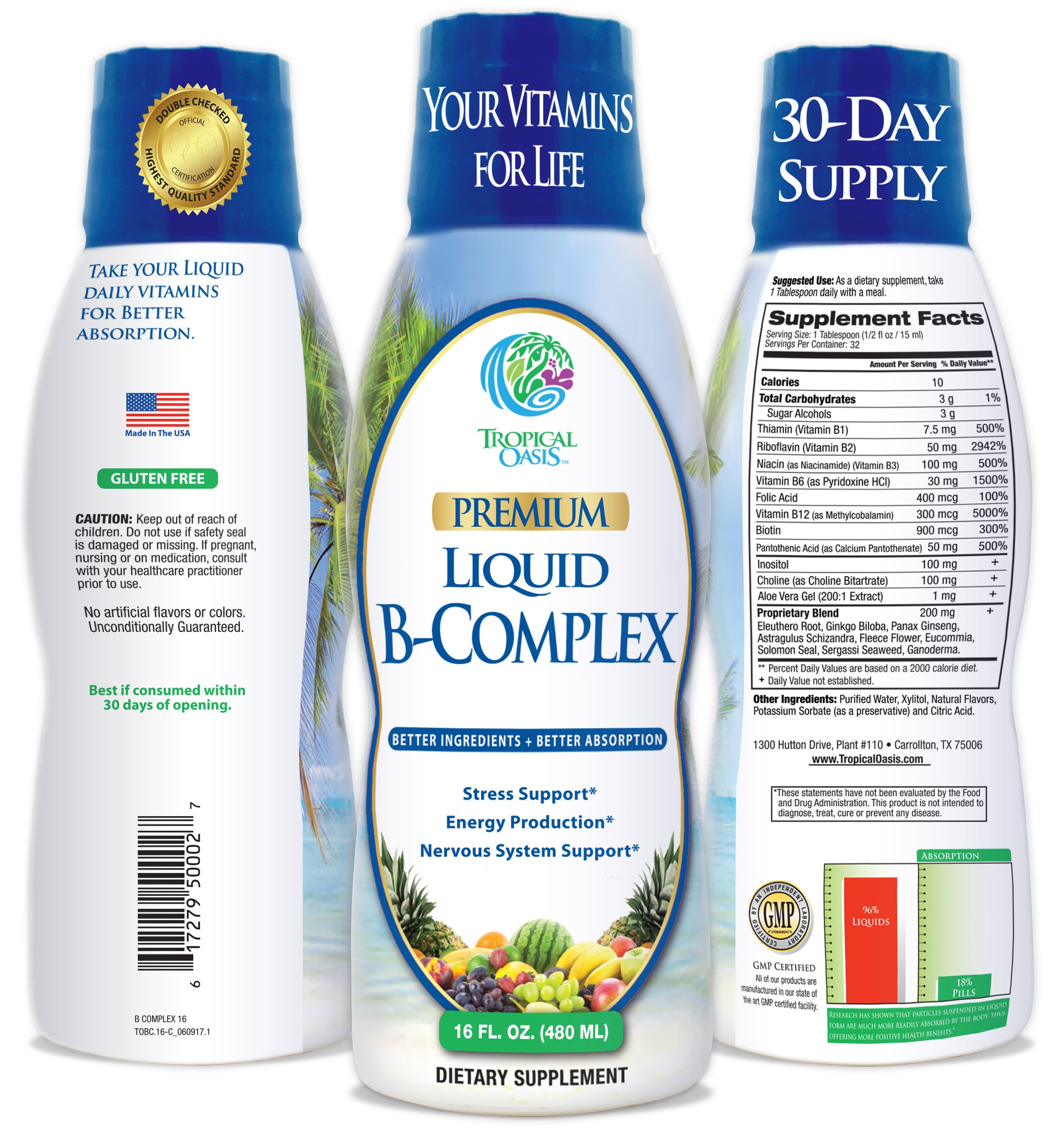 Premium Liquid B Complex Vitamin- Fast Absorbing Liquid B-Complex Supplement w/ all 8 B-vitamins, PLUS energizing herbal blend w/ Ginseng, Ginkgo, and Eleuthero Root - Vegan, NON-GMO - 16oz, 32 Serv