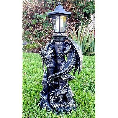 Dragon with Solar Light Statue Solar Dragon Lantern Figurine-f : Garden & Outdoor