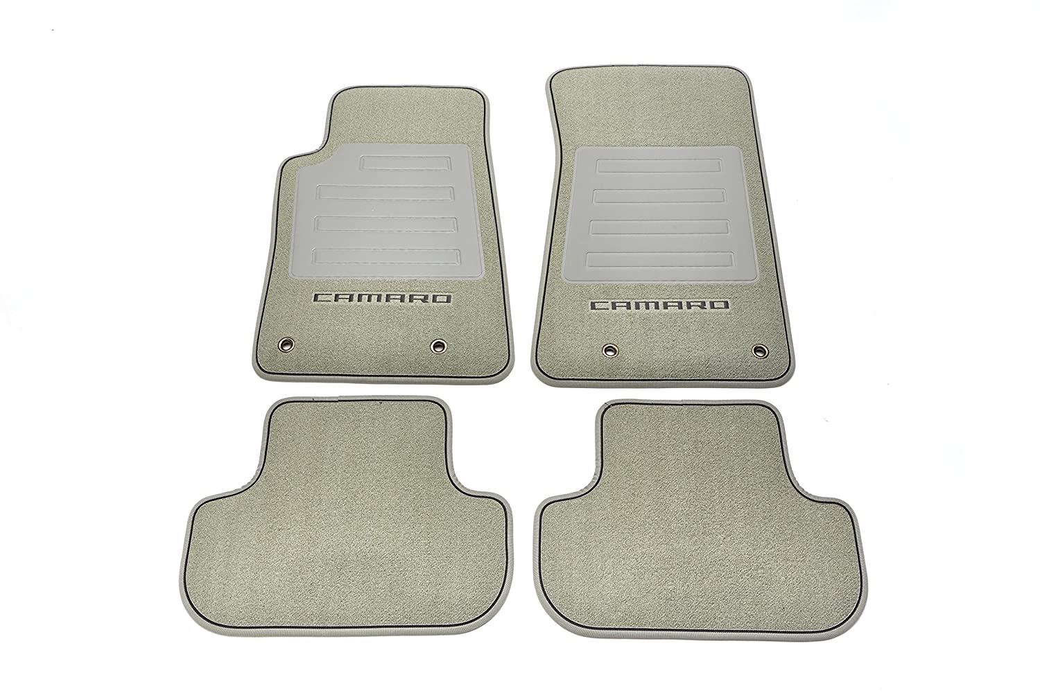 GM Accessories 92219641 Front and Rear Carpeted Floor Mats in Light Gray with Camaro Logo and Black Edging General Motors