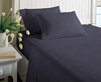 Delightful Cotton Rich T Shirt Soft Heather Jersey Knit Sheet Set   All Season Bed  Sheets