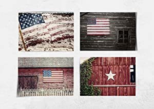"""Farmhouse Home Decor American Flag Set of 4 5x7"""" Patriotic Art Prints (Not Framed). Rustic Americana Wall Art in Red, White and Blue. (FBA45)"""