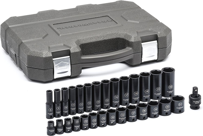 SAE Impact Socket Set Standard /& Deep 3//8 Drive 6 Pt GEARWRENCH 25 Pc 84919N