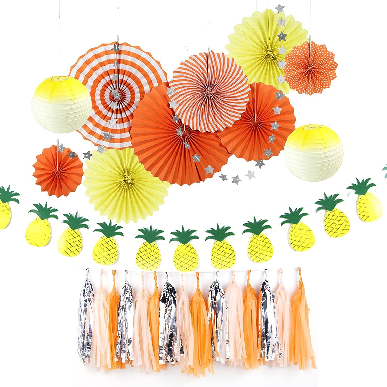 Easy Joy Decorazione per Festa d'Estate, Decorazione con Banner Ananas, Colore Fresca per Festa, Compleanno, Matrimonio, Anniversario, Verde e Giallo