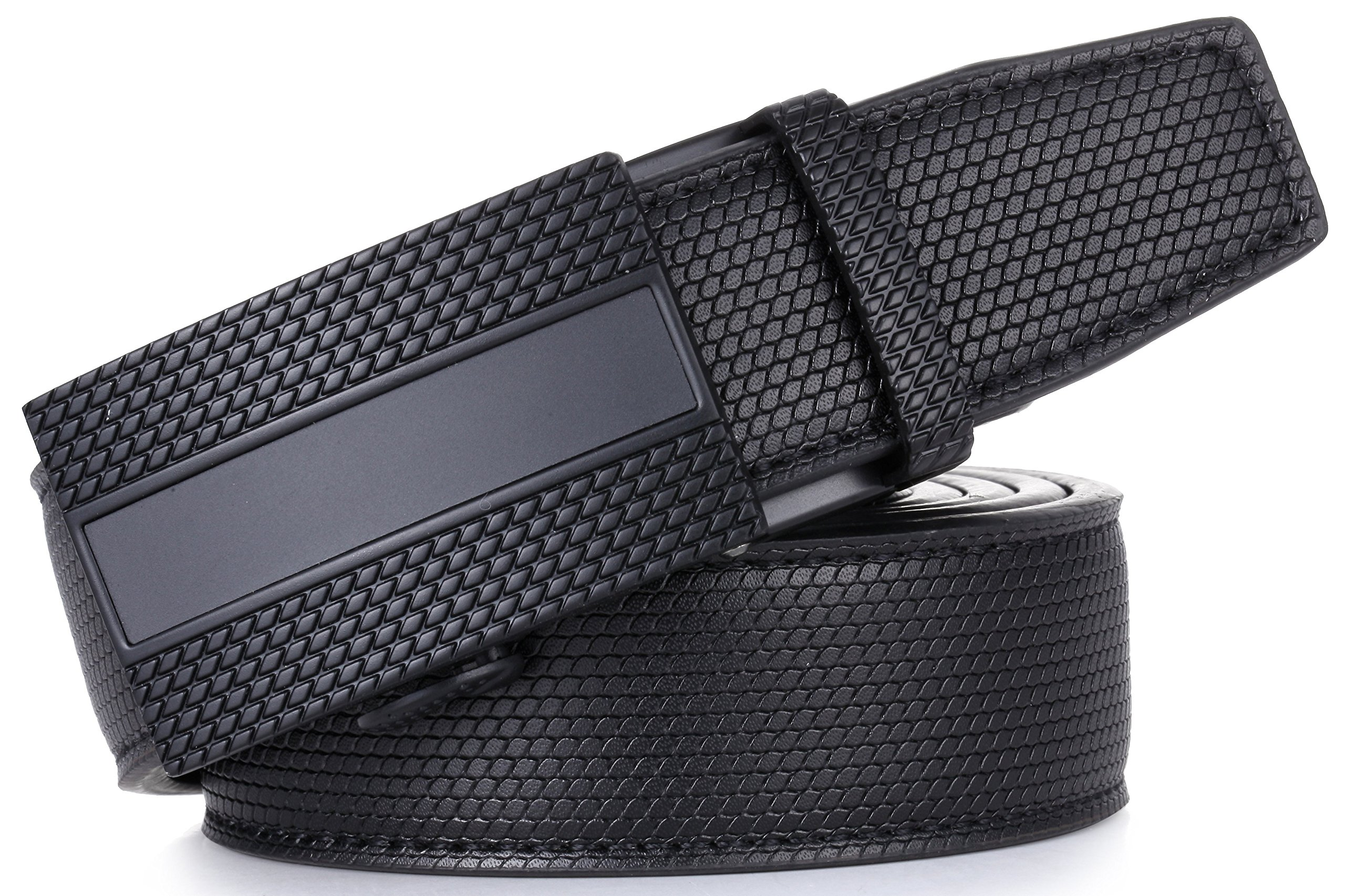 Gallery Seven Mens Leather Ratchet Belt - Adjustable Genuine Leather Dress Belt For Men - Casual Click Belt - In Gift Box - Black Style-1 - Medium Up To Waist 44'' by Gallery Seven (Image #6)