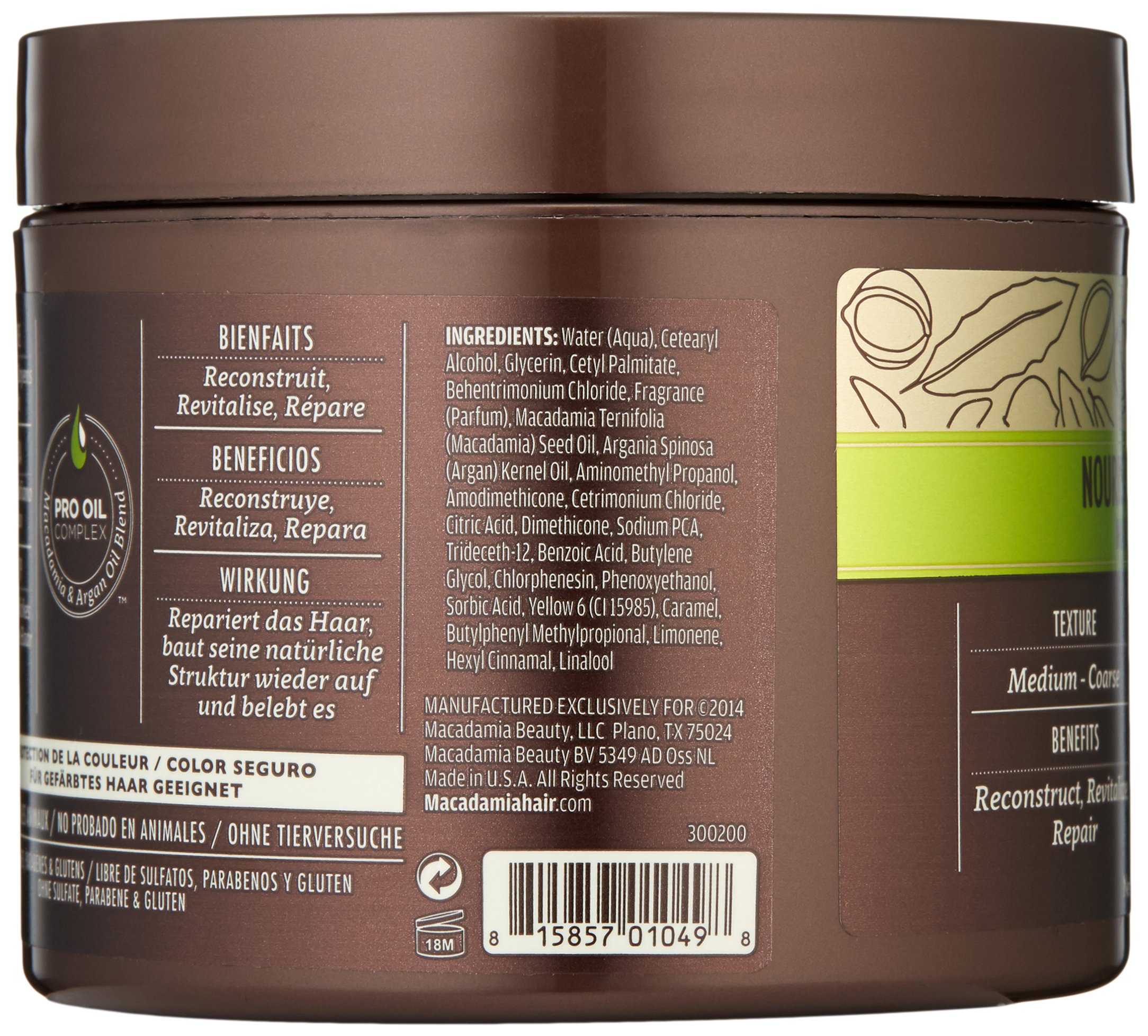 Macadamia Professional Nourishing Moisture Masque - 8oz. - Medium to Coarse Hair Textures - Ultimate Hydrating Treatment - With Argan Oil - Sulfate, Gluten & Paraben Free, Safe for Color-Treated Hair