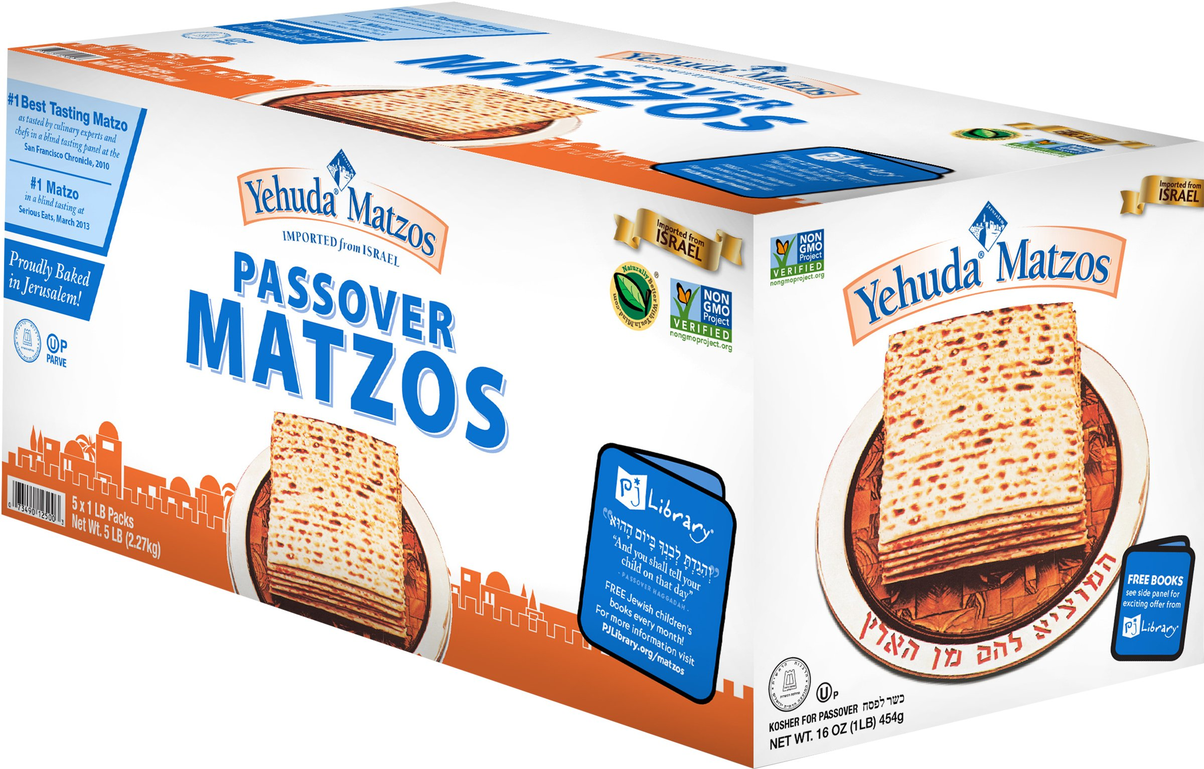 Yehuda Passover Matzos, 5 - 1 lb Packages with one Resealable Stay-Fresh Pouch by Yehuda
