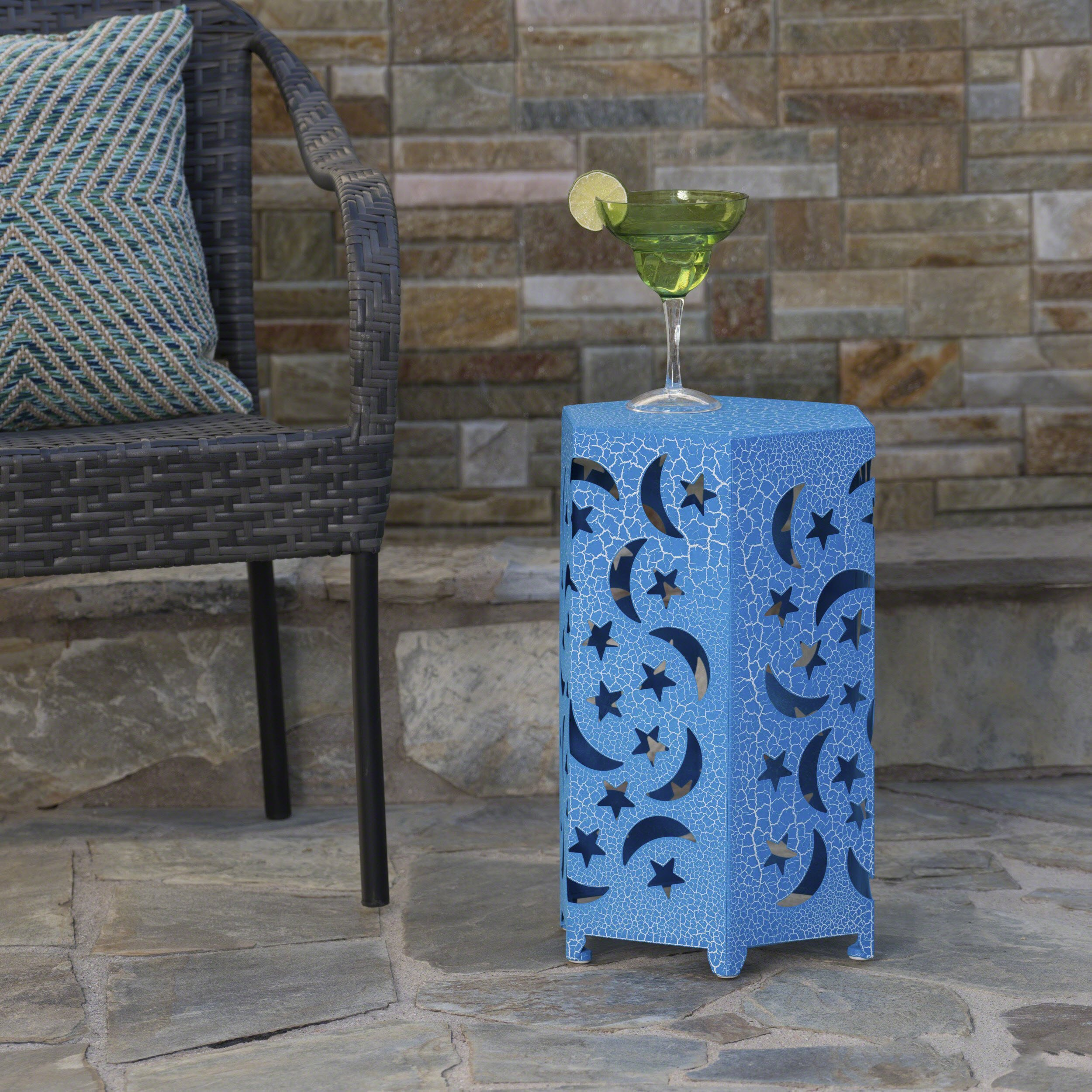 Neptune Outdoor 12 Inch Crackle Blue Iron Moon and Stars Side Table
