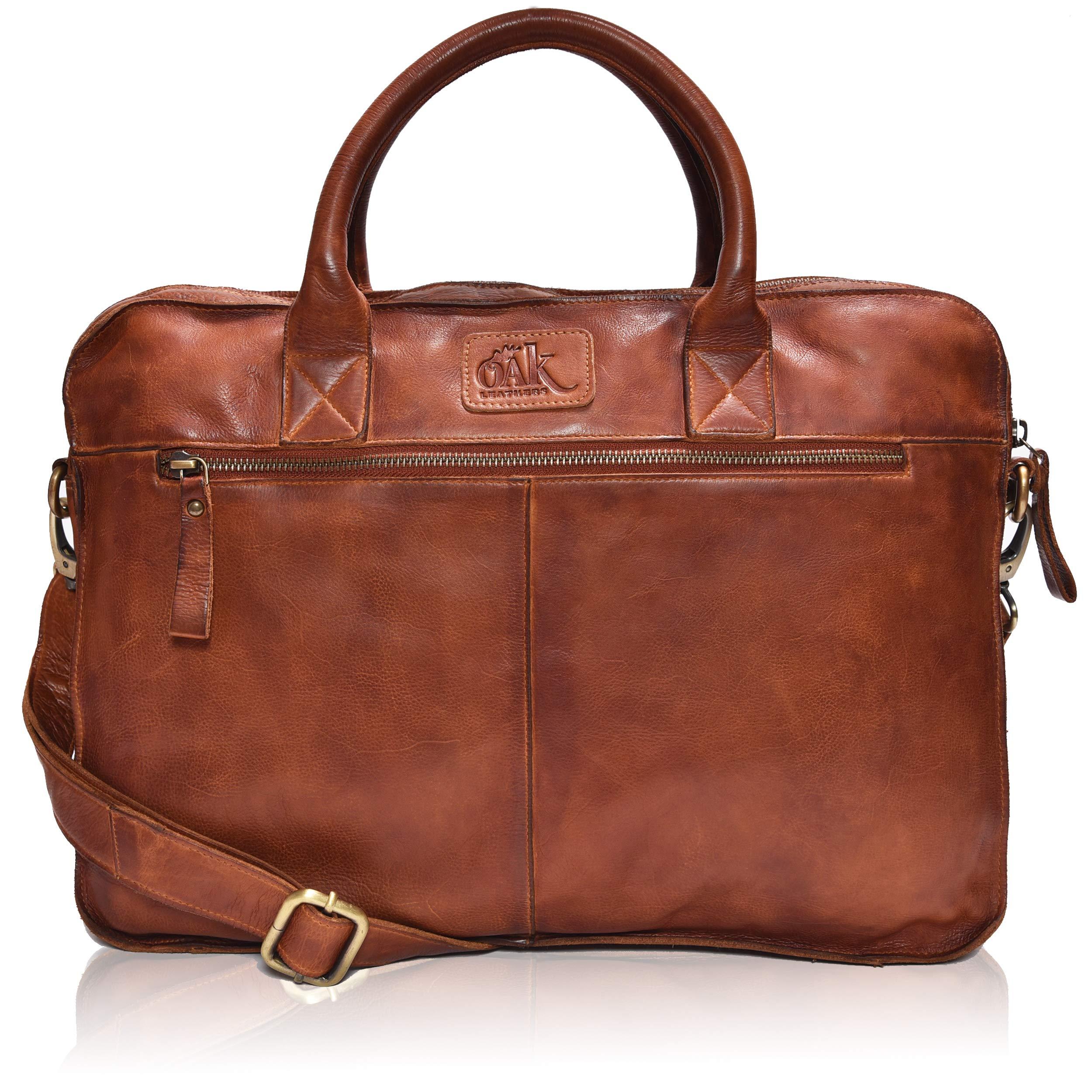 Leather Messenger bag for men 15'' Laptop Satchel Shoulder Bag for Men and Women (Dark Tan Wash)