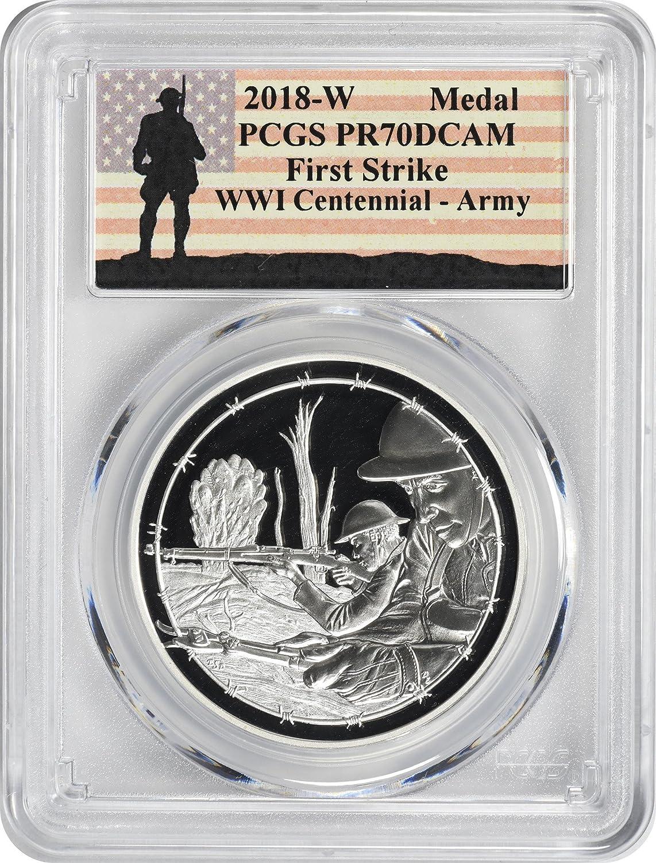 2018-P World War I WWI Centennial Commem Dollar MS70 PCGS First Strike Label