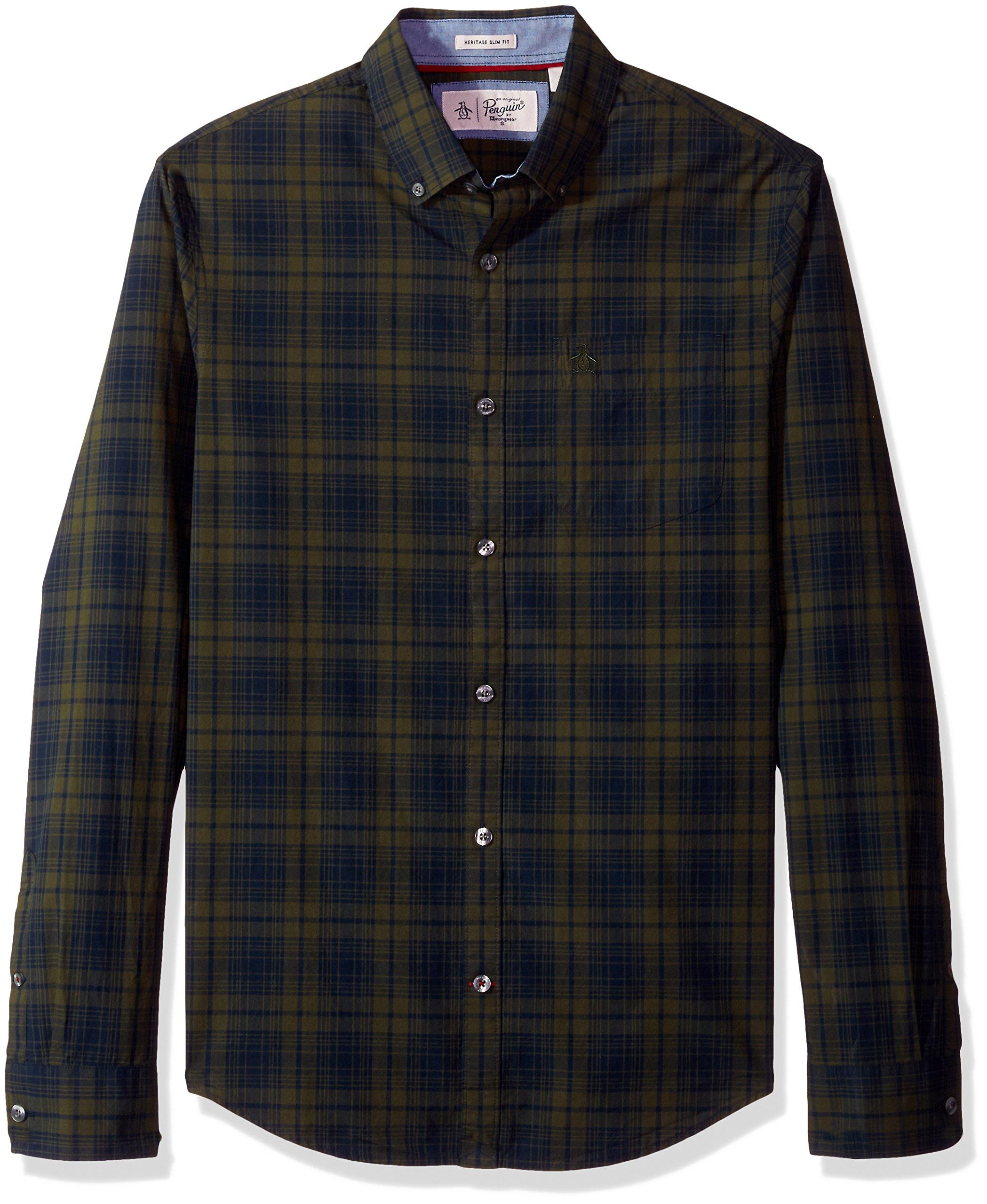 Original Penguin Men's P55 Plaid Shirt, Forest Night, Extra Large
