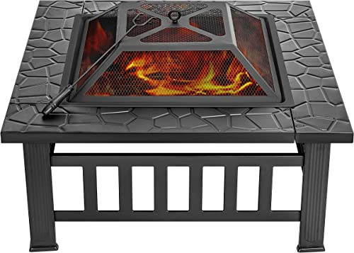 VIVOHOME 32 Inch Heavy Duty 3 in 1 Metal Square Patio Firepit Table BBQ Garden Stove with Spark Screen Cover Log Grate and Poker for Outside Wood Burning and Drink Cooling