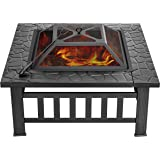 VIVOHOME 32 Inch Heavy Duty 3 in 1 Metal Square Patio Firepit Table BBQ Garden Stove with Spark Screen Cover Log Grate and Po