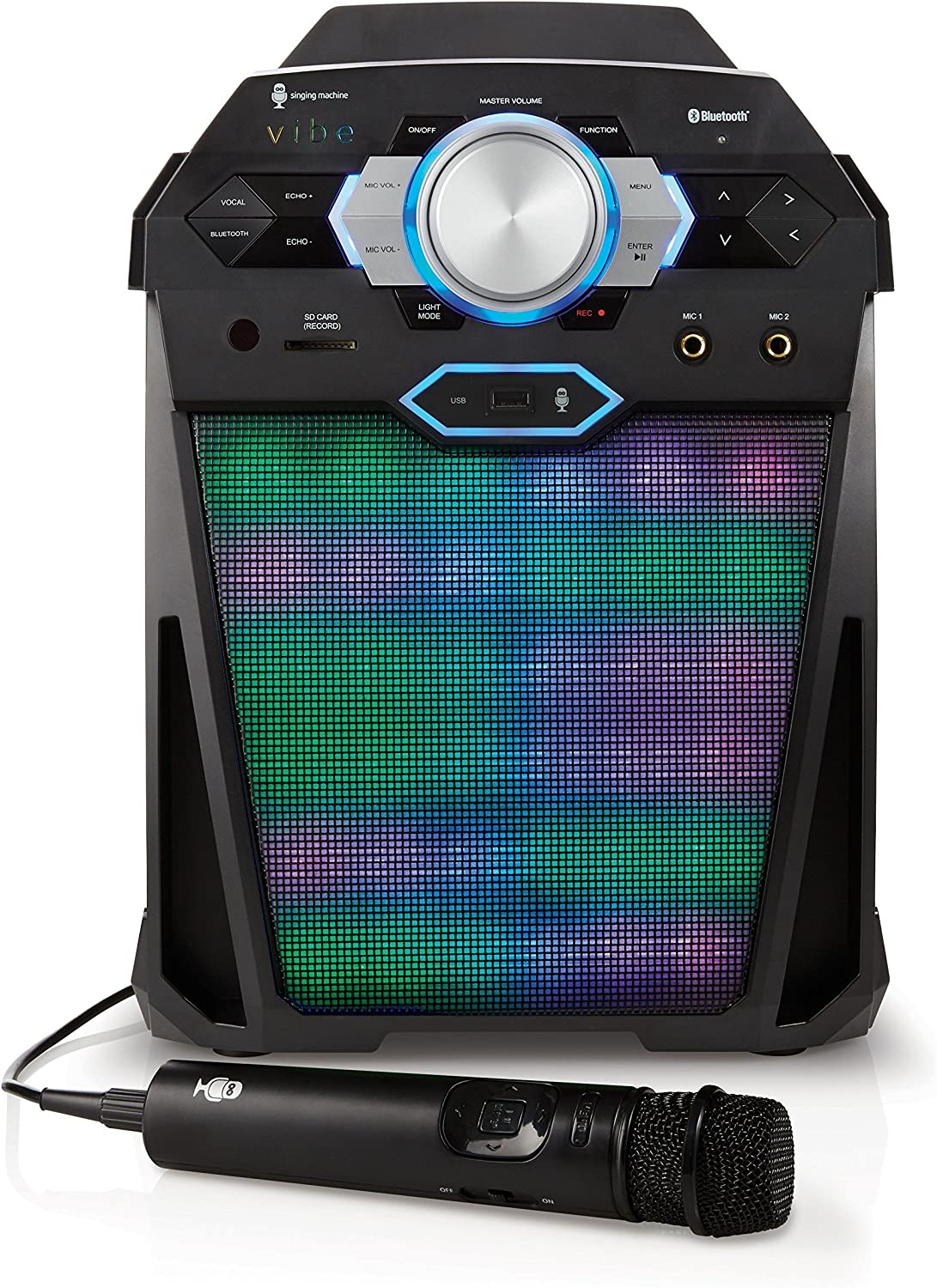 Singing Machine SDL366 The VIBE Party Pack Hi-Def Digital Karaoke System with Two Microphones, 10 Song Downloads, Resting Tablet Cradle, and LED Disco Lights
