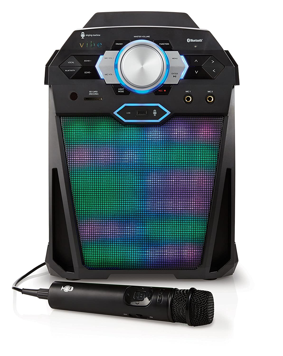 Singing Machine SDL366 The VIBE Party Pack Hi-Def Digital Karaoke System  with Two Microphones, 10 Song Downloads, Resting Tablet Cradle, and LED  Disco