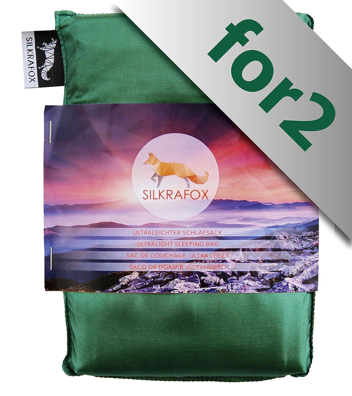 Silkrafox for 2 - Saco de Dormir Ultraligero para Las excursiones de Senderismo, 150 cm de Anchura es Espacio Suficiente, los Viajes, Las acampadas, ...