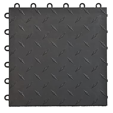 Speedway 789453B-50 Diamond Garage Floor 6 Lock Diamond Tile 50 Pack, Black
