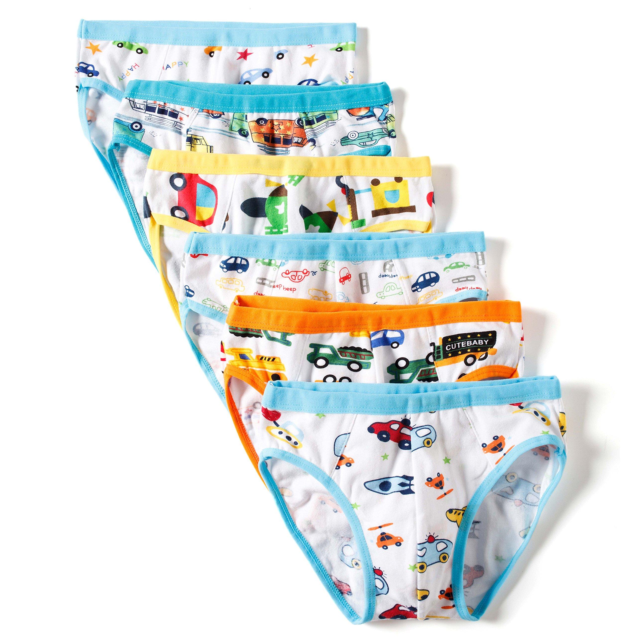BOBO Kids Little Boys Car Briefs Underwear Toddler (Pack Of 6) Size 7-8