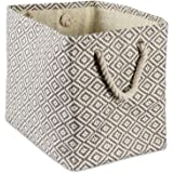 DII Geo Diamond Woven Paper Laundry Hamper or Storage Bin, Large Rectangle, Gray