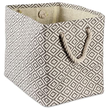 """DII Woven Paper Storage Basket or Bin, Collapsible & Convenient Home Organization Solution for Office, Bedroom, Closet, Toys, & Laundry (Small - 11x9x10""""), Gray Geo Diamond"""