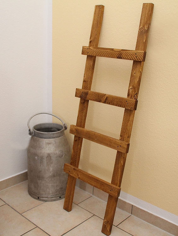 Escalera decorativa, toallero, vintage (madera), medidas de 118 x 39 x 5 cm, marrón claro: Amazon.es: Hogar
