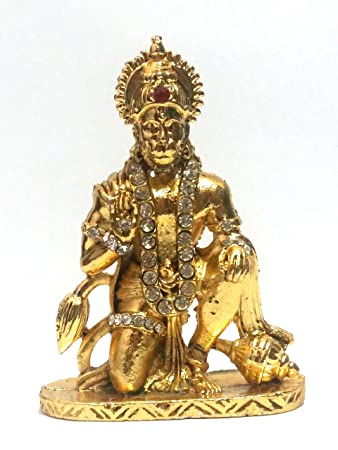 cae3719d760d Astroghar Shree Hanuman ji Statue Golden Finished with Jerkin Diamonds for  Your Car  Amazon.in  Car   Motorbike