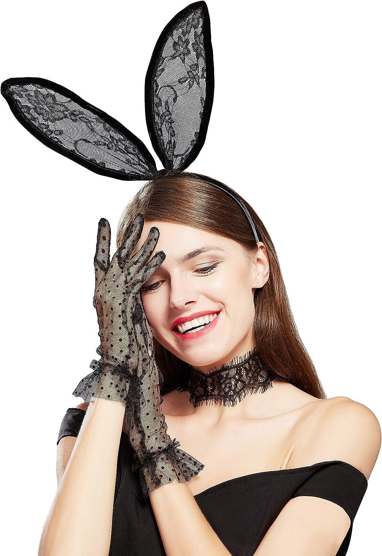 BABEYOND Womens Bunny Costume Set Rabbit Ear Headband Lace Choker Dot Gloves