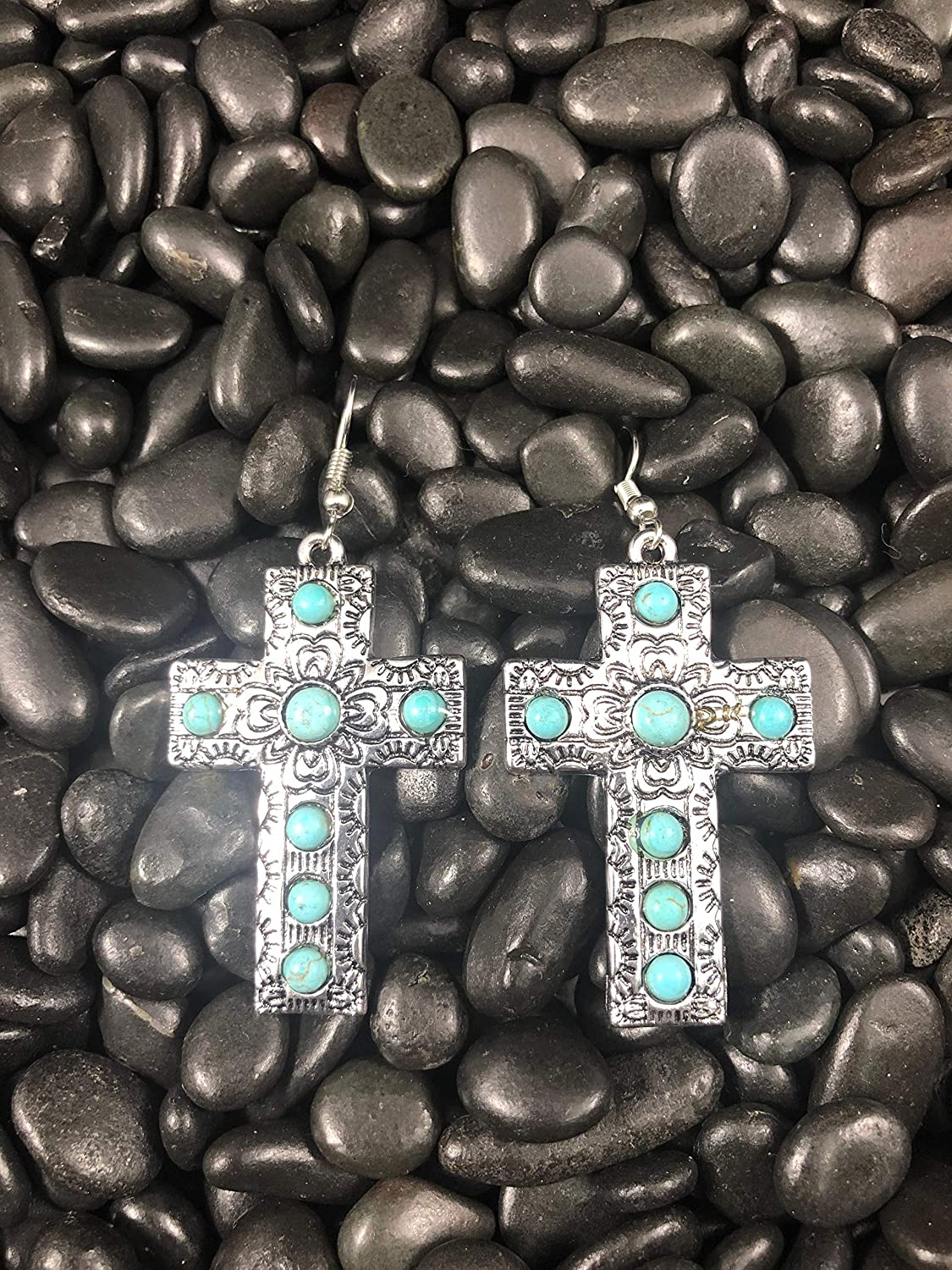 NoraJae Gems Antique Silver Cross Earrings with Turquoise Stones