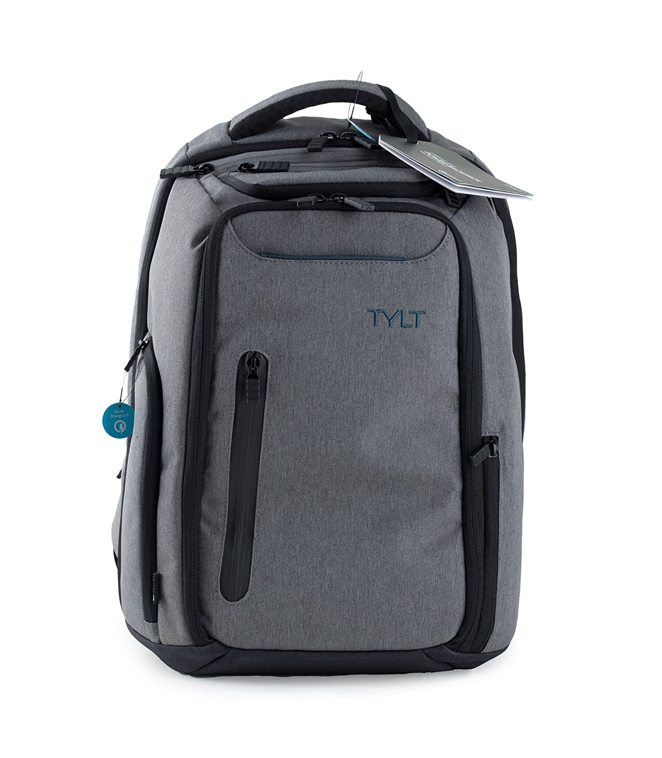 TYLT Energi Pro Power Backpack with Charging Station - Charge Up to 3 Devices at Once via USB or USB Type-C Ports, TSA Approved Laptop and Mobile ...