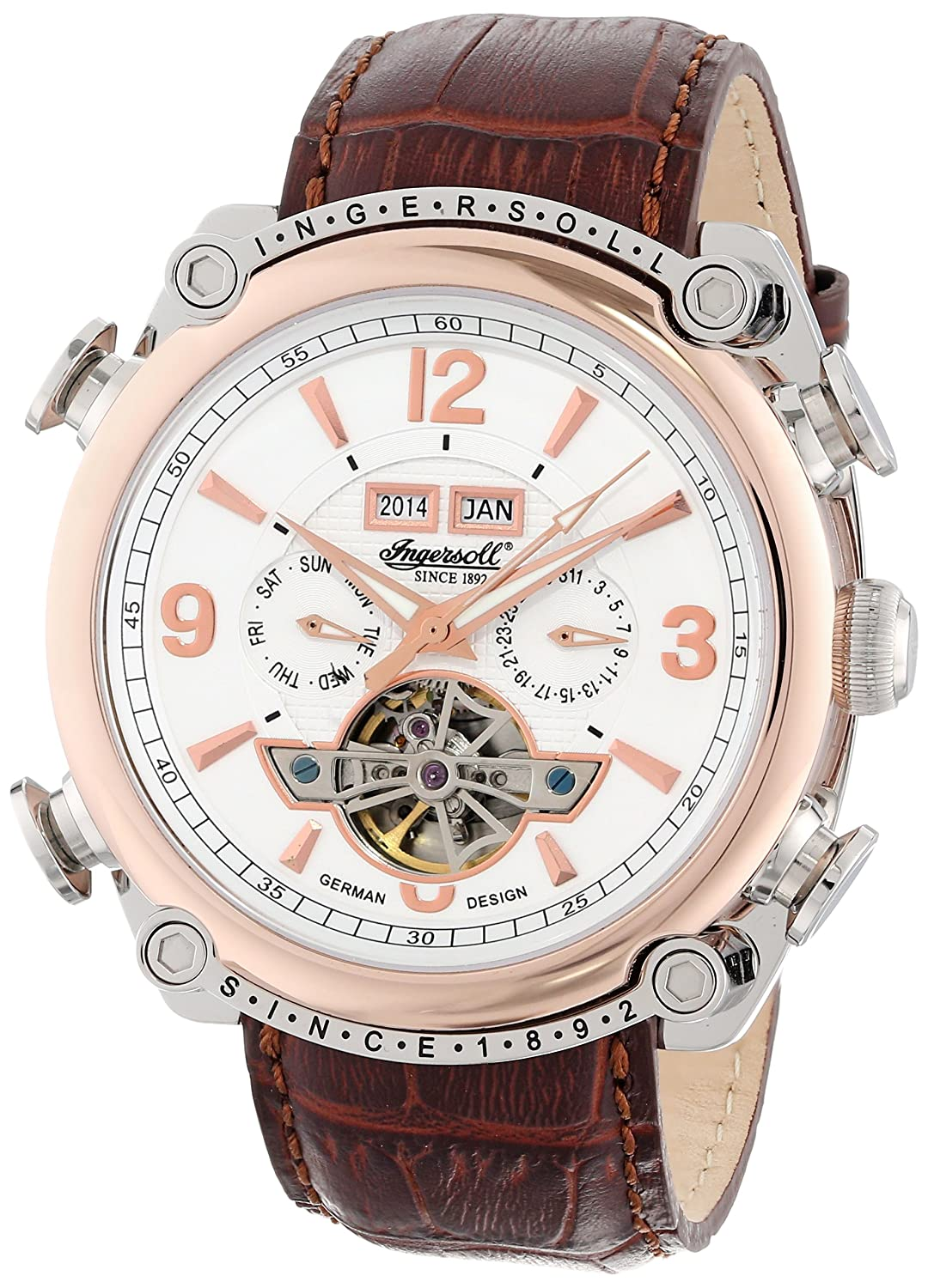 Amazon.com: Ingersoll Men's IN4505RWH Montgomery Analog Display Automatic  Self Wind Brown Watch: Ingersoll: Watches