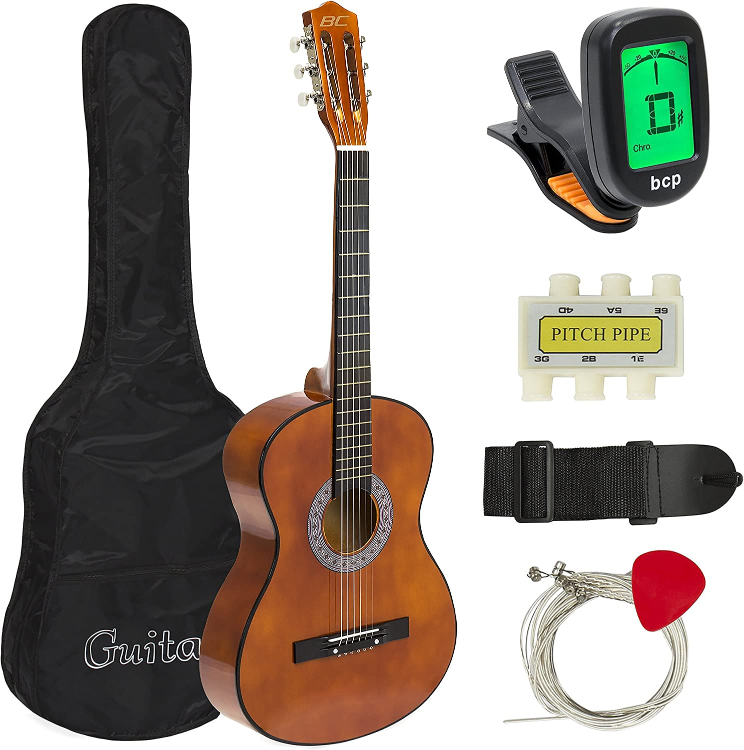 B077SFZCQW Best Choice Products 38in Beginner Acoustic Guitar Starter Kit w/ Case, Strap, Digital E-Tuner, Pick, Pitch Pipe, Strings - Brown 910WRLj-QrL