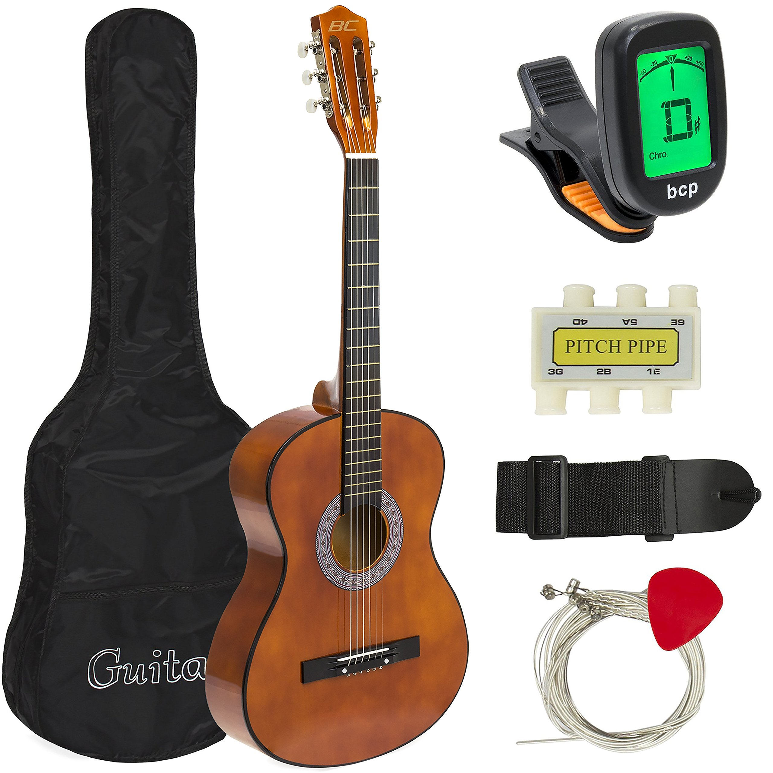 Best Choice Products 38in Beginner Acoustic Guitar Starter Kit w/ Case, Strap, Digital E-Tuner, Pick, Pitch Pipe, Strings - Brown by Best Choice Products