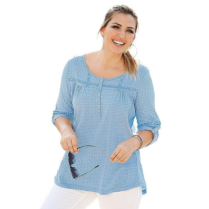 VENCA Camiseta Escote caftán con Tapeta de Botones de nácar Mujer by VencaSt - 013412: Amazon.es: Ropa y accesorios