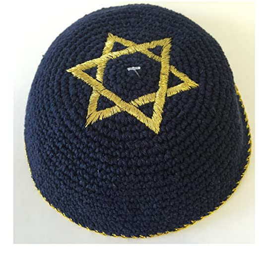 Alef Judaica Navy Blue Knitted Kippah With Gold Border And Star Of