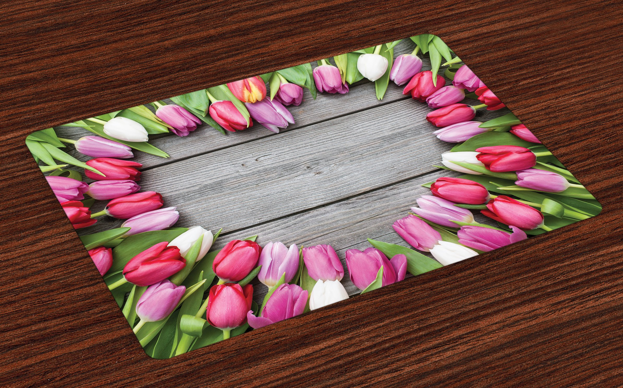 Ambesonne Love Place Mats Set of 4, Frame of Fresh Tulips Arranged on Wooden Table Country Nature Valentines Print, Washable Fabric Placemats for Dining Room Kitchen Table Decor, Pink Green Umber,