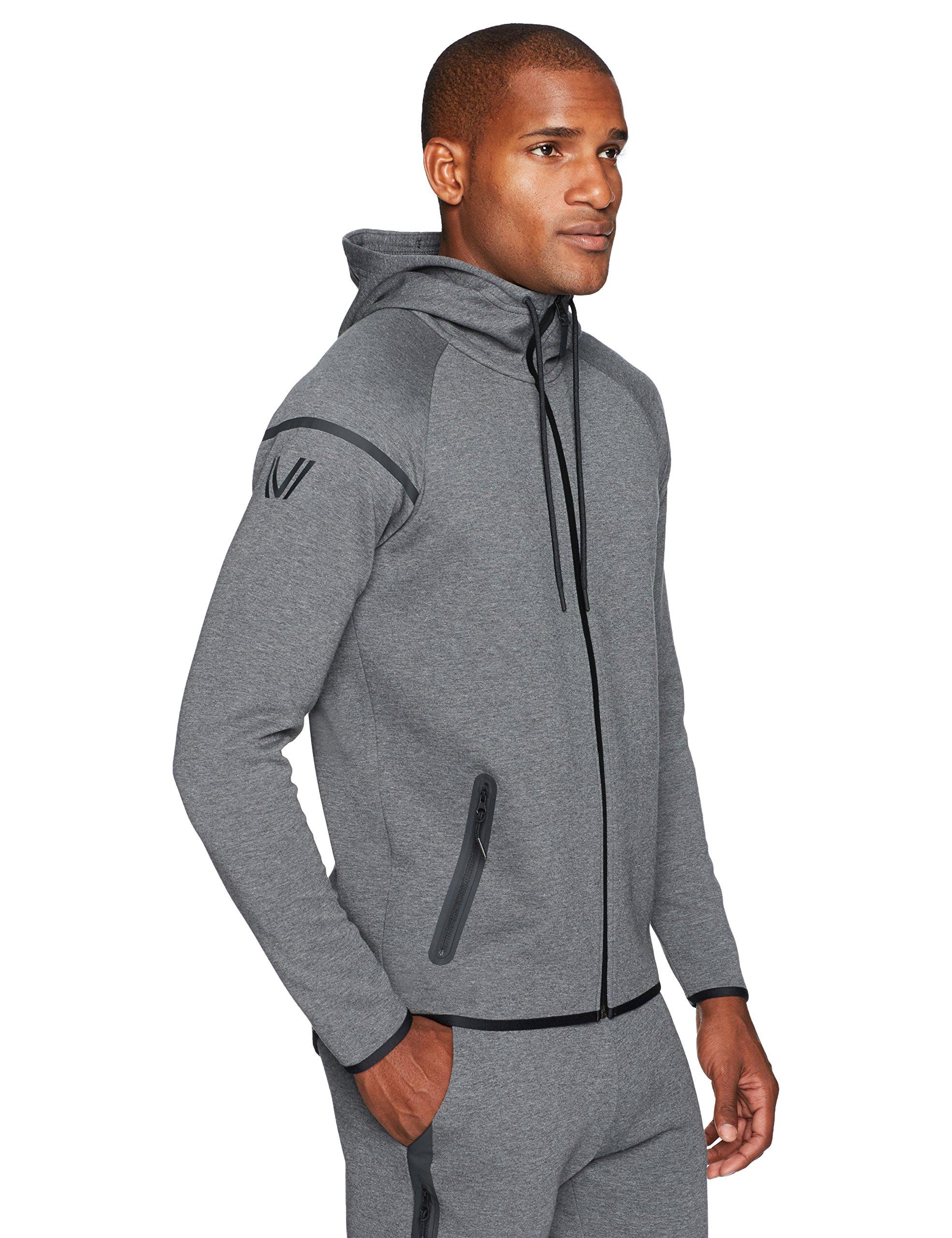 Peak Velocity Men's Metro Fleece Full-Zip Athletic-Fit Hoodie, Dark Grey Heather, Large