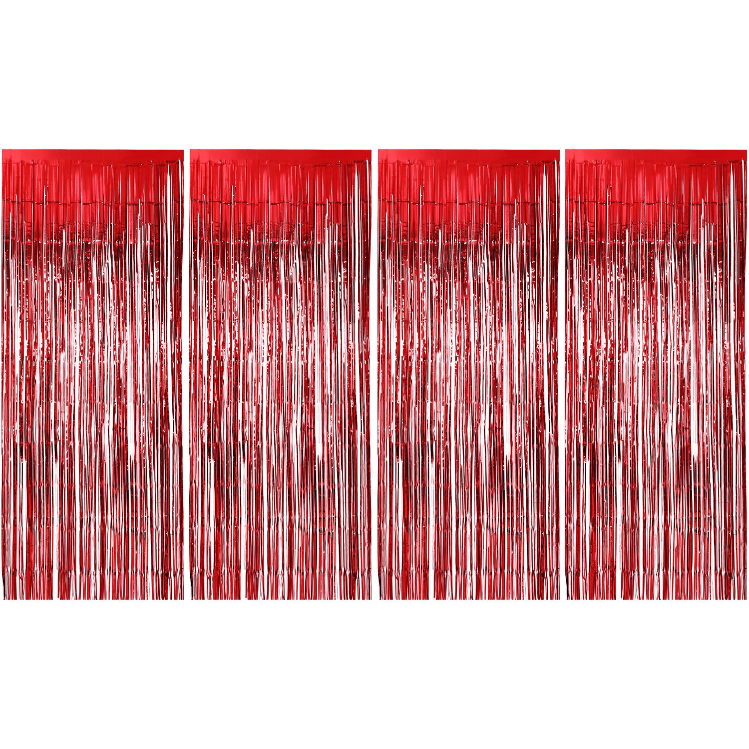Sumind 4 Pack Foil Curtains Metallic Fringe Curtains Shimmer Curtain for Birthday Wedding Party Christmas Decorations (Red)