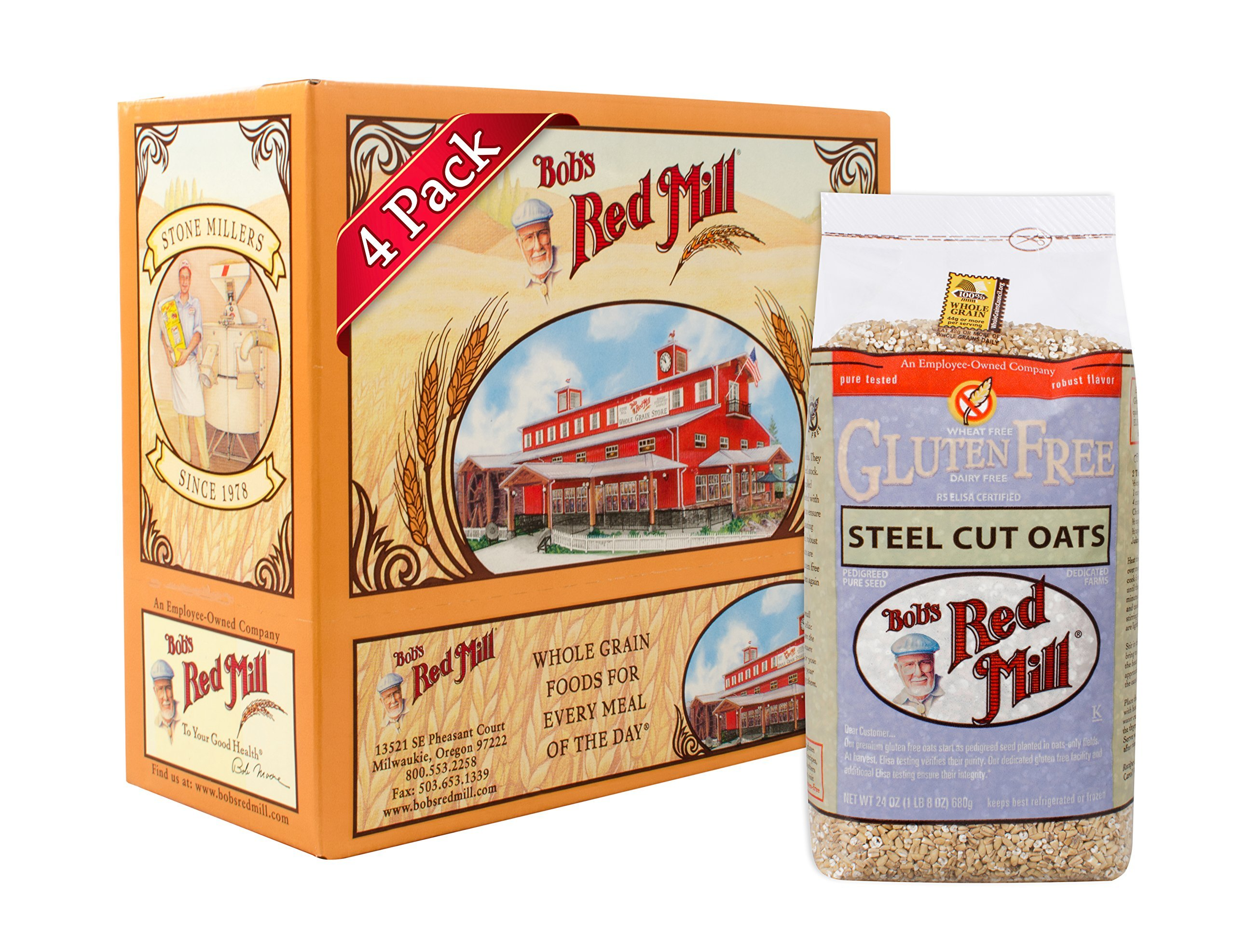 Bob's Red Mill Gluten Free Steel Cut Oats, 24 Oz (4 Pack) by Bob's Red Mill