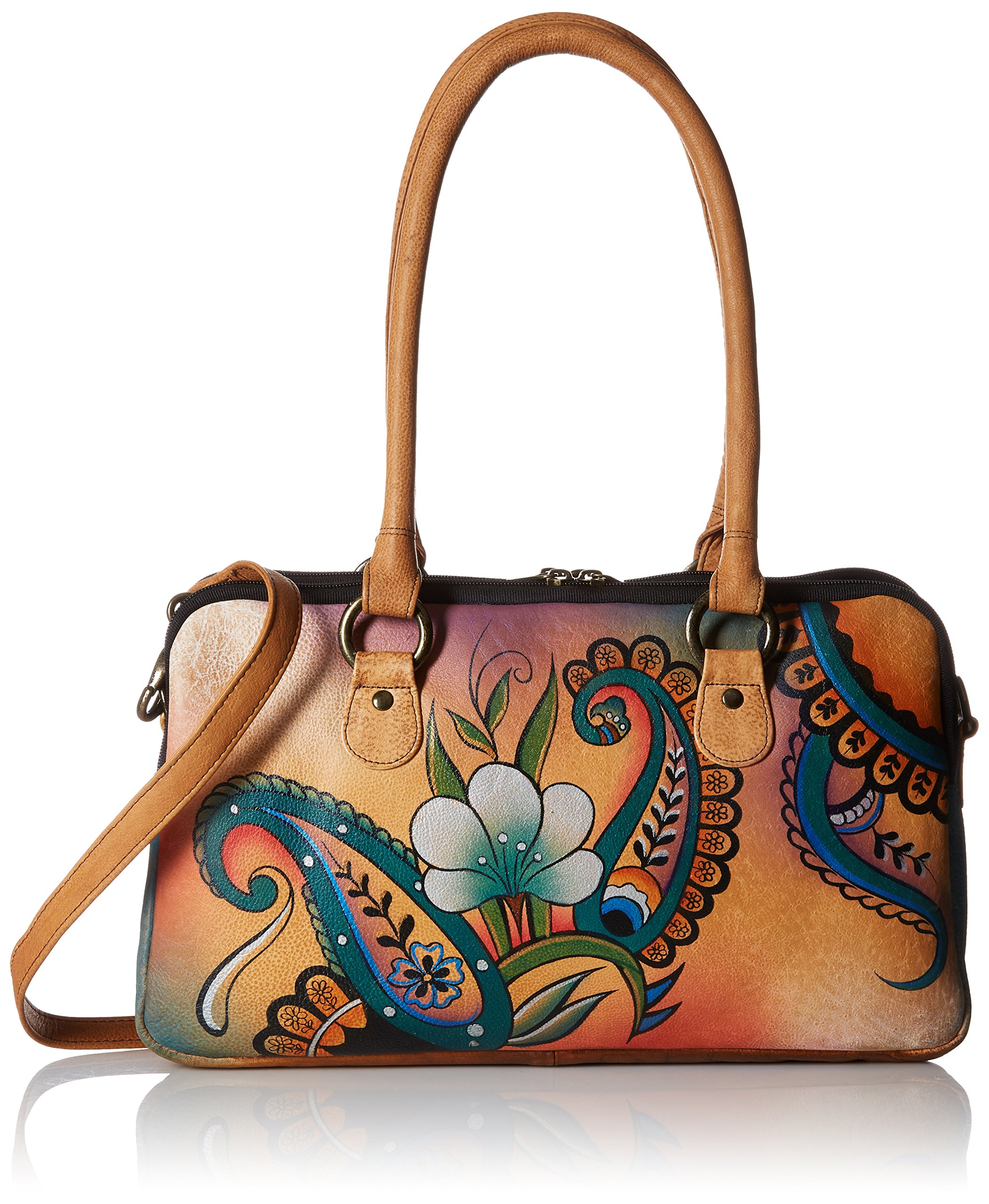 Anna by Anuschka Women's Genuine Leather Satchel | Multi-Compartment | Hand-Painted Original Artwork | Floral Paisley