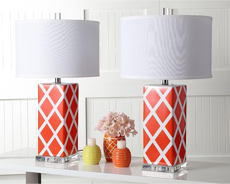 Safavieh Lighting Collection Garden Lattice Orange 27-inch Table Lamp (Set of 2)