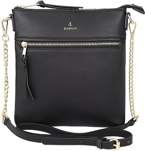 f1876ebffd2b Vegan Double-Zipper Crossbody Bag with Chain Strap (Black)  Handbags ...
