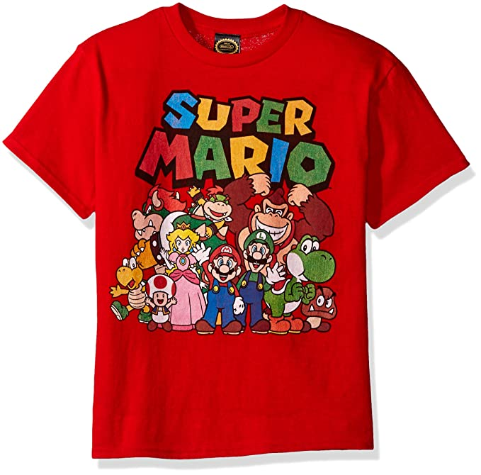 3c0121ce9 Nintendo Little Boys Super Mario Character Group Shot Graphic T-shirt, Red,  YXS