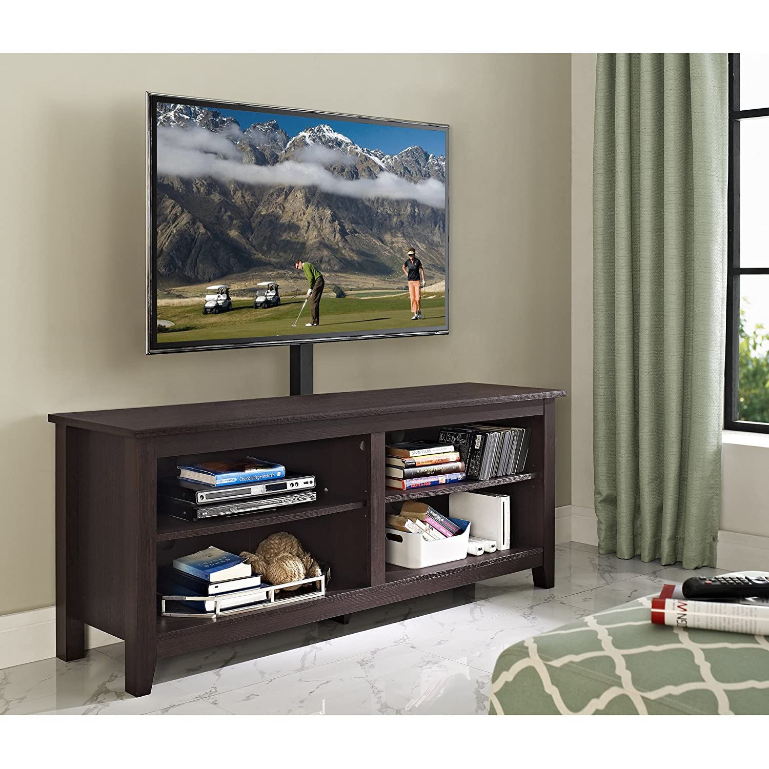 """WE Furniture Minimal Farmhouse Wood Universal Stand with Mount for TV's up to 64"""" Flat Screen Living Room Storage Shelves Entertainment Center, 58 Inch, Espresso"""