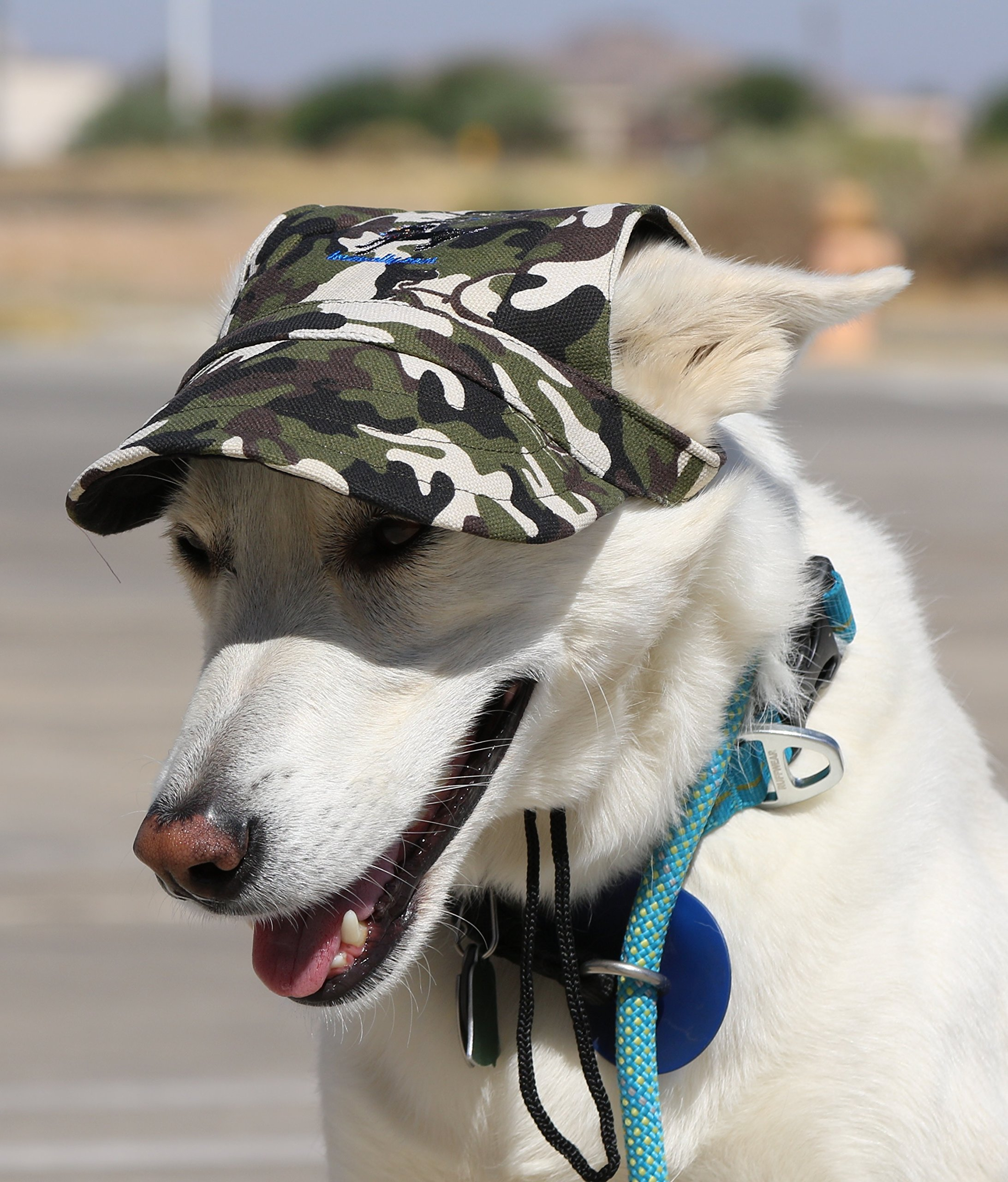 LoveWally Dog Outdoor PET Hat ♦ Adjustable Authentic Colors (Large, Camo)