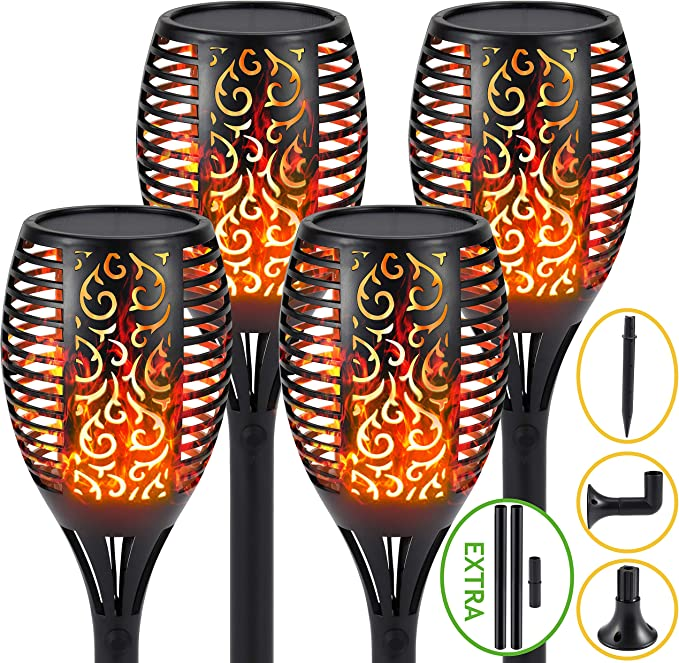 S.Y 2 Pack Auto On//Off Outdoor Lighting Solar Lights Outdoor 3 Installation 2 Heights Available Waterproof Landscape Solar Garden Lights 96 LED Solar Torch Light with Dancing Flickering Flames